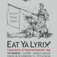 13/10 – EAT YA LYRIX (concours impro. rap)