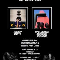 16/11 – ApOllonius AbRaham ScHwarz + Mehdy Vonti (experim. rock, rap & electro, CH)