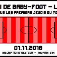 01/11 – Tournoi de baby-foot mensuel